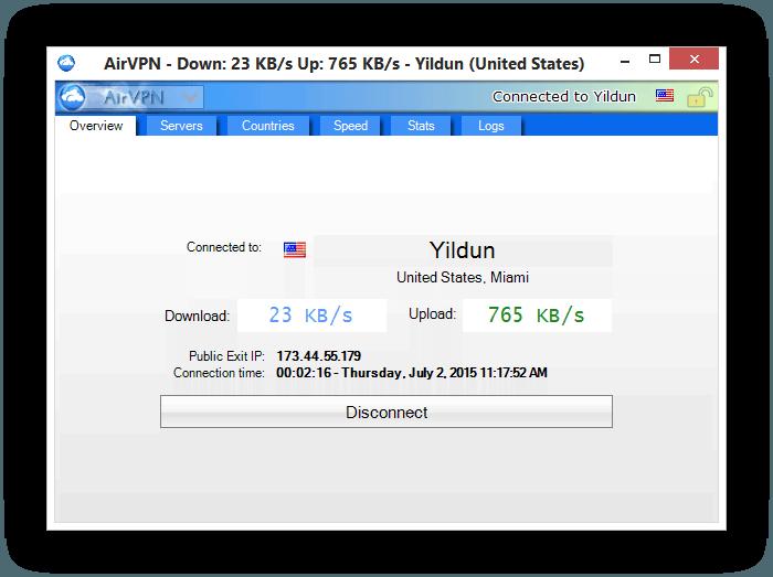 AirVPN ConnectedScreen