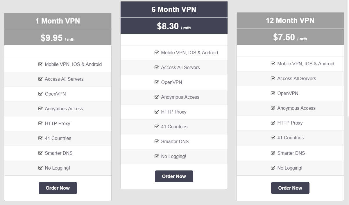 vpnsecure-me simple pricing plan