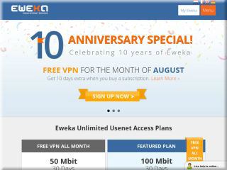 Free VPN with USENET Account from Eweka