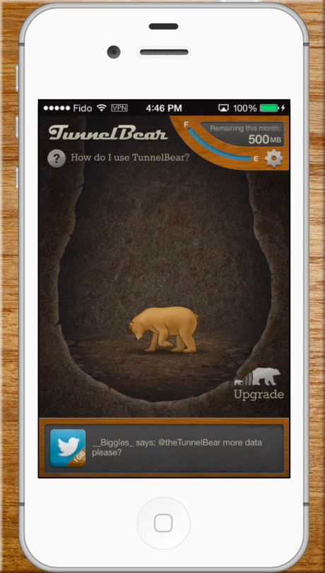 TunnelBear iOS connected